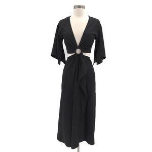 Bardot Black Flutter Sleeve Cutout Dress